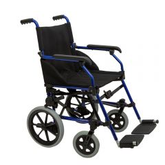 Dash Stowaway wheelchair unfolded in blue